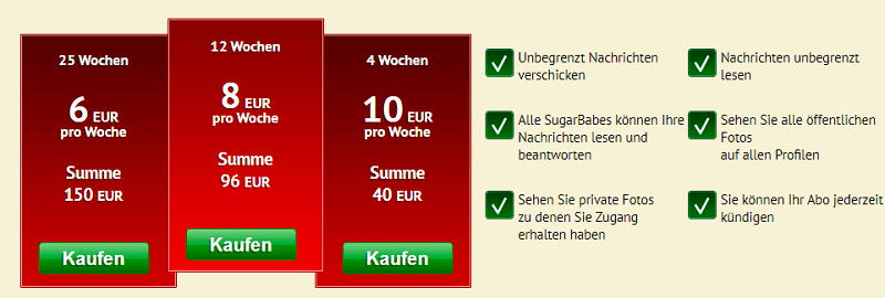 SugarDaters Premium Kosten